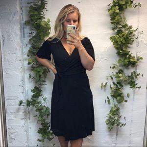 Ann Taylor LOFT black midi wrap dress 6